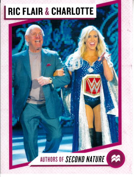 Ric Flair and Charlotte Flair 2017 Comic-Con 3x4 inch promo WWE wrestling trading card