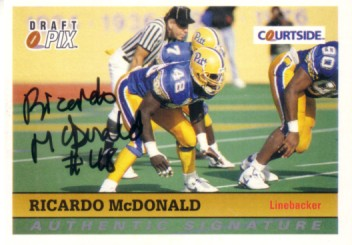 Ricardo McDonald Pitt certified autograph 1992 Courtside card