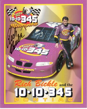Rich Bickle autographed NASCAR 8x10 photo card
