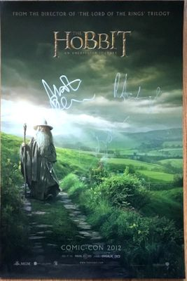 Richard Armitage Martin Freeman Andy Serkis autographed The Hobbit 2012 Comic-Con mini movie poster