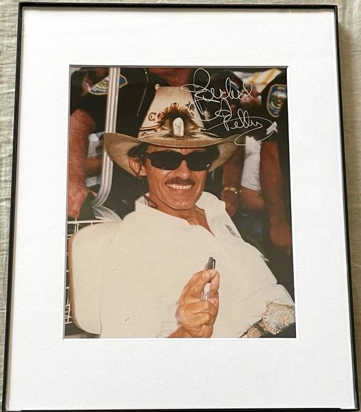Richard Petty autographed 8x10 portrait photo matted and framed