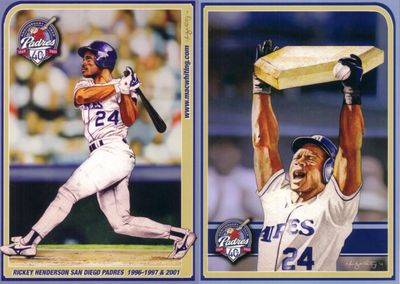 Rickey Henderson 2009 Hall of Fame San Diego Padres 5x7 card (ONLY 10000 MADE)
