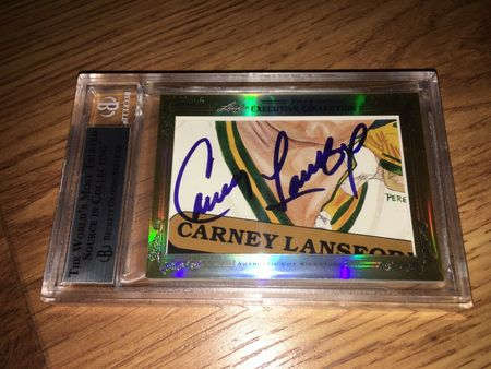 Rickey Henderson and Carney Lansford 2013 Leaf Masterpiece Cut Signature certified autograph card 1/1 JSA