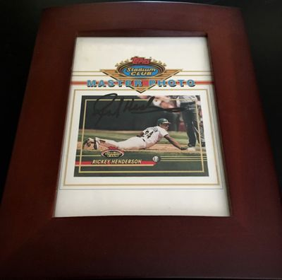 Rickey Henderson autographed Oakland A's Topps 5x7 Master Photo framed