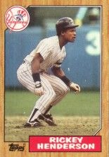 Rickey Henderson New York Yankees 1987 Topps mini wax box card