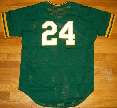 Rickey Henderson 1991 Oakland A's original Rawlings green batting practice jersey NEW