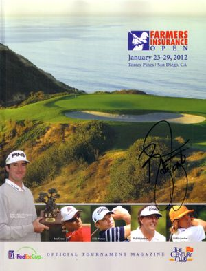 Rickie Fowler autographed 2012 Farmers Insurance Open program