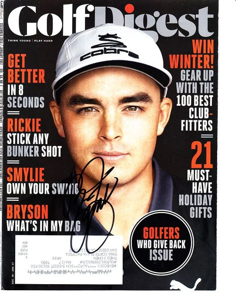 Rickie Fowler autographed 2016 Golf Digest magazine cover