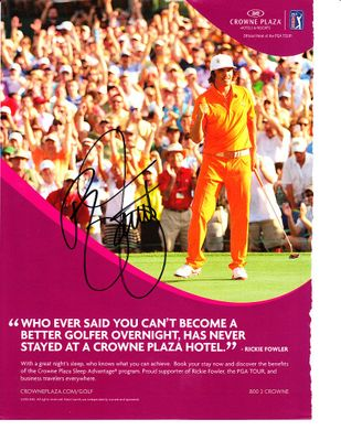 Rickie Fowler autographed 2012 Wells Fargo Championship full page golf magazine ad