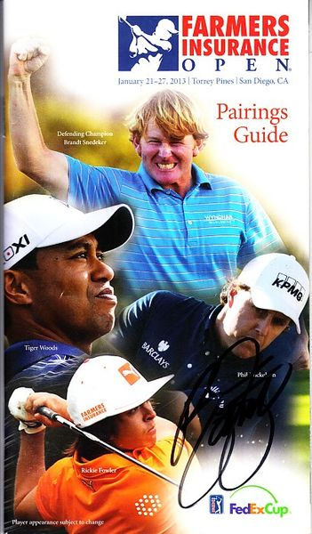Rickie Fowler autographed 2013 Farmers Insurance Open pairings booklet