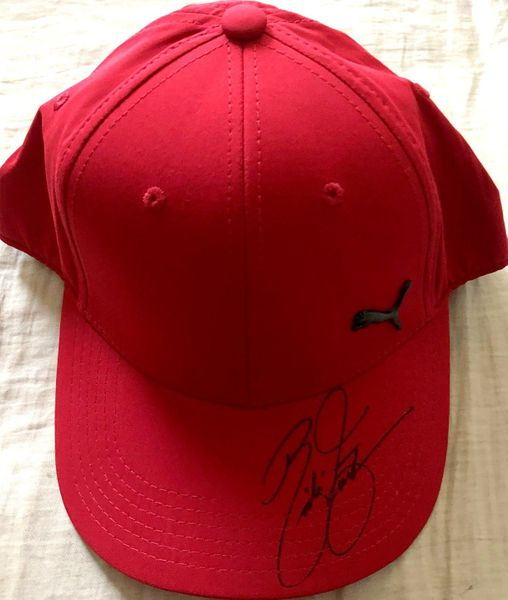 Rickie Fowler autographed red Puma golf cap or hat