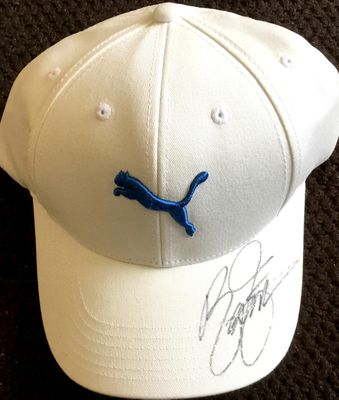 Rickie Fowler autographed white Puma golf cap or hat