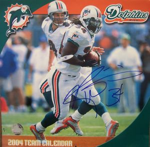 Ricky Williams autographed Miami Dolphins 2004 calendar cover