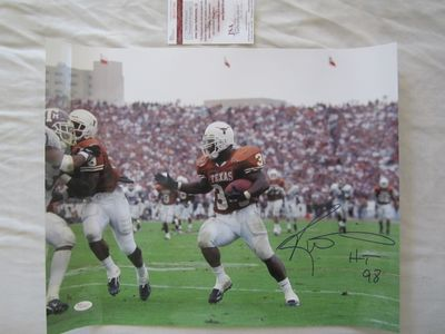 Ricky Williams autographed Texas Longhorns 16x20 poster size photo inscribed HT 98 (JSA Witnessed)