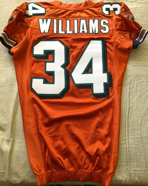 Ricky Williams Miami Dolphins 2005 authentic Reebok team issued orange stitched jersey