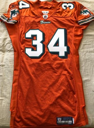 Ricky Williams Miami Dolphins 2010 authentic Reebok team issued orange stitched jersey NEW
