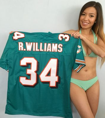 Ricky Williams Miami Dolphins authentic NFL Pro Line triple stitched aqua jersey NEW