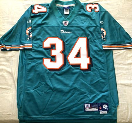 Ricky Williams Miami Dolphins authentic Reebok NFL Equipment stitched aqua jersey NEW