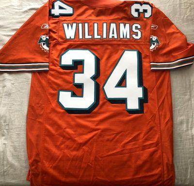 Ricky Williams Miami Dolphins authentic Reebok orange stitched jersey NEW