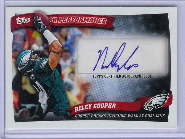 Riley Cooper certified autograph Philadelphia Eagles 2010 Topps Rookie Card