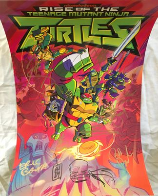 Rise of the Teenage Mutant Ninja Turtles cast autographed 2018 Comic-Con poster (Eric Bauza Kat Graham Rob Paulsen)