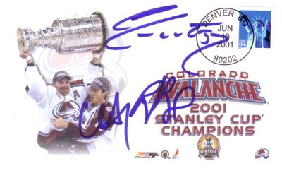 Rob Blake Chris Drury Adam Foote autographed Colorado Avalanche 2001 Stanley Cup Champions cachet
