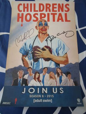 Rob Corddry and Rob Huebel autographed Children's Hospital 2014 Comic-Con poster