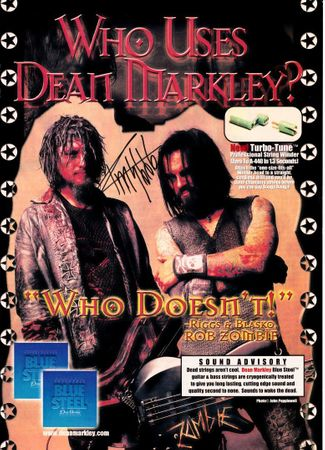 Rob Zombie and Mike Riggs autographed Hit Parader magazine photos