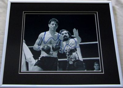 Robert De Niro autographed Raging Bull 8x10 black & white photo matted & framed