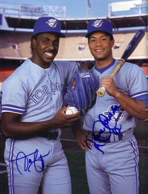 Roberto Alomar & Juan Guzman autographed Toronto Blue Jays Beckett Baseball back cover photo