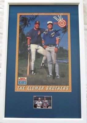 Roberto Alomar and Sandy Alomar Jr. autographed SI for Kids poster and 1992 Upper Deck card framed