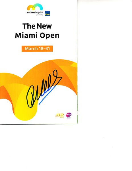 Robin Haase autographed 2019 Miami Open tennis tournament map and program