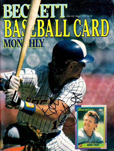Robin Yount autographed Milwaukee Brewers 1990 Beckett Baseball magazine cover