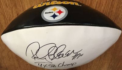 Rocky Bleier autographed Pittsburgh Steelers full size logo football inscribed 4X SB Champ (Schwartz Sports)