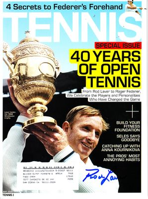 Rod Laver autographed May 2008 Tennis magazine