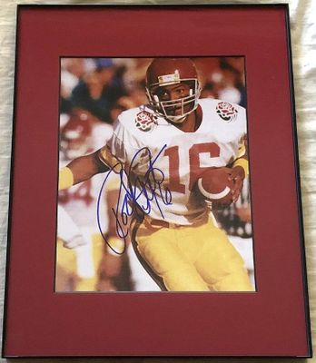 Rodney Peete autographed USC Trojans 8x10 Rose Bowl photo matted and framed