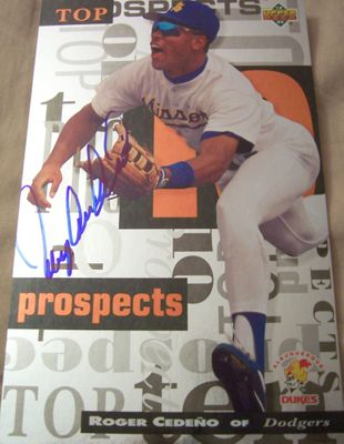 Roger Cedeno autographed 1994 Upper Deck Minors 5x8 jumbo card