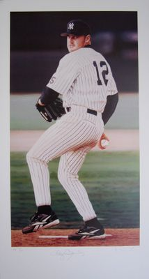 Roger Clemens autographed New York Yankees 12x24 lithograph by Daniel Smith HC #2/12