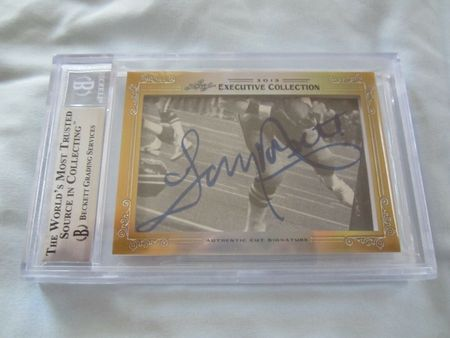 Roger Staubach and Tony Dorsett 2013 Leaf Masterpiece Cut Signature certified autograph card 1/1 Cowboys JSA