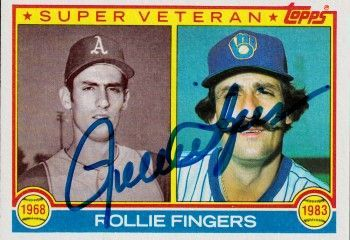 Rollie Fingers autographed Milwaukee Brewers 1983 Topps Super Veteran card