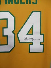 Rollie Fingers autographed Oakland Athletics 1973 authentic Majestic yellow alternate throwback jersey