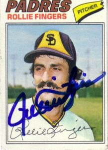 Rollie Fingers autographed San Diego Padres 1977 Topps card