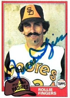Rollie Fingers autographed San Diego Padres 1981 Topps card