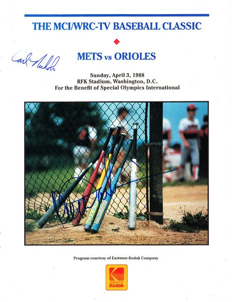Ron Darling autographed 1988 New York Mets exhibition game program