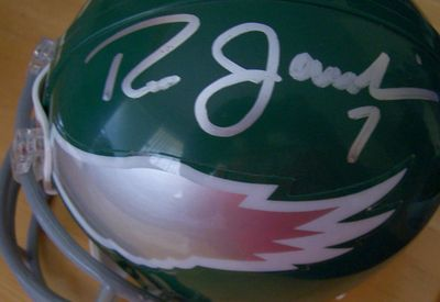 Ron Jaworski and Harold Carmichael autographed Philadelphia Eagles throwback mini helmet