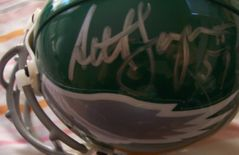 Ron Jaworski & Seth Joyner autographed Philadelphia Eagles authentic throwback mini helmet