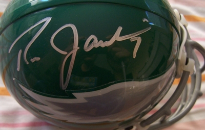 Ron Jaworski and Seth Joyner autographed Philadelphia Eagles authentic throwback mini helmet