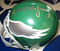 Ron Jaworski & Wilbert Montgomery autographed Philadelphia Eagles throwback mini helmet
