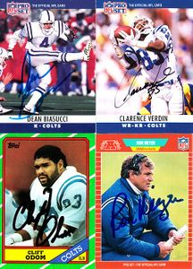 4 Indianapolis Colts autographed cards (Dean Biasucci Ron Meyer Cliff Odom Clarence Verdin)