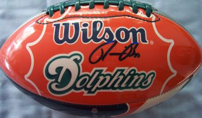 Ronnie Brown autographed Miami Dolphins football
